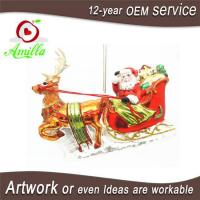 Glass Santa Sleigh And Reindeer Decorations And Ornament For Christmas