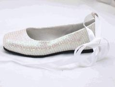 """Quality China Doll """"Vanessa"""" White & Silver Sparkly Girls Ballet Flats/ Shoes 4yth for sale"""