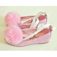 Buy cheap China Doll Vanessa Sparkly pink Ankle Tie Shoes w/Puff 7tdlr product