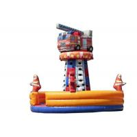 China Children Fire Truck Inflatable Rock Climbing Wall Tower 7.0 X 5.6 M Safe Nontoxic on sale