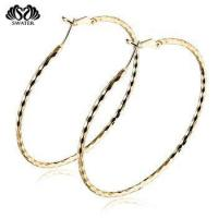 Buy cheap Wholesale Jewelry Self Piercing Silver Gold Plated Hoop Earrings product