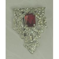 Buy cheap Unsi Impressive ART DECO Dress Clip with Faceted Red Glass Stone product