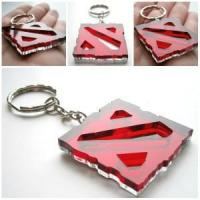 China Dota keycain- Laser Cut red Acrylic And Mirror Plastic Dota keychain on sale