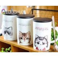 Buy cheap Customized ceramic mug coffee cup with lid and stainless steel spoon from wholesalers