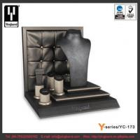 Buy cheap Grid Backdrop Classical Black Match with Glossy Silver Gray PU Leather Jewelry Display Stand product