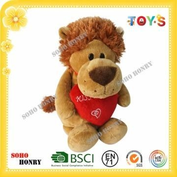 China TOYS Animal Plush Toy Plush Lion Toy Standing with Red Heart
