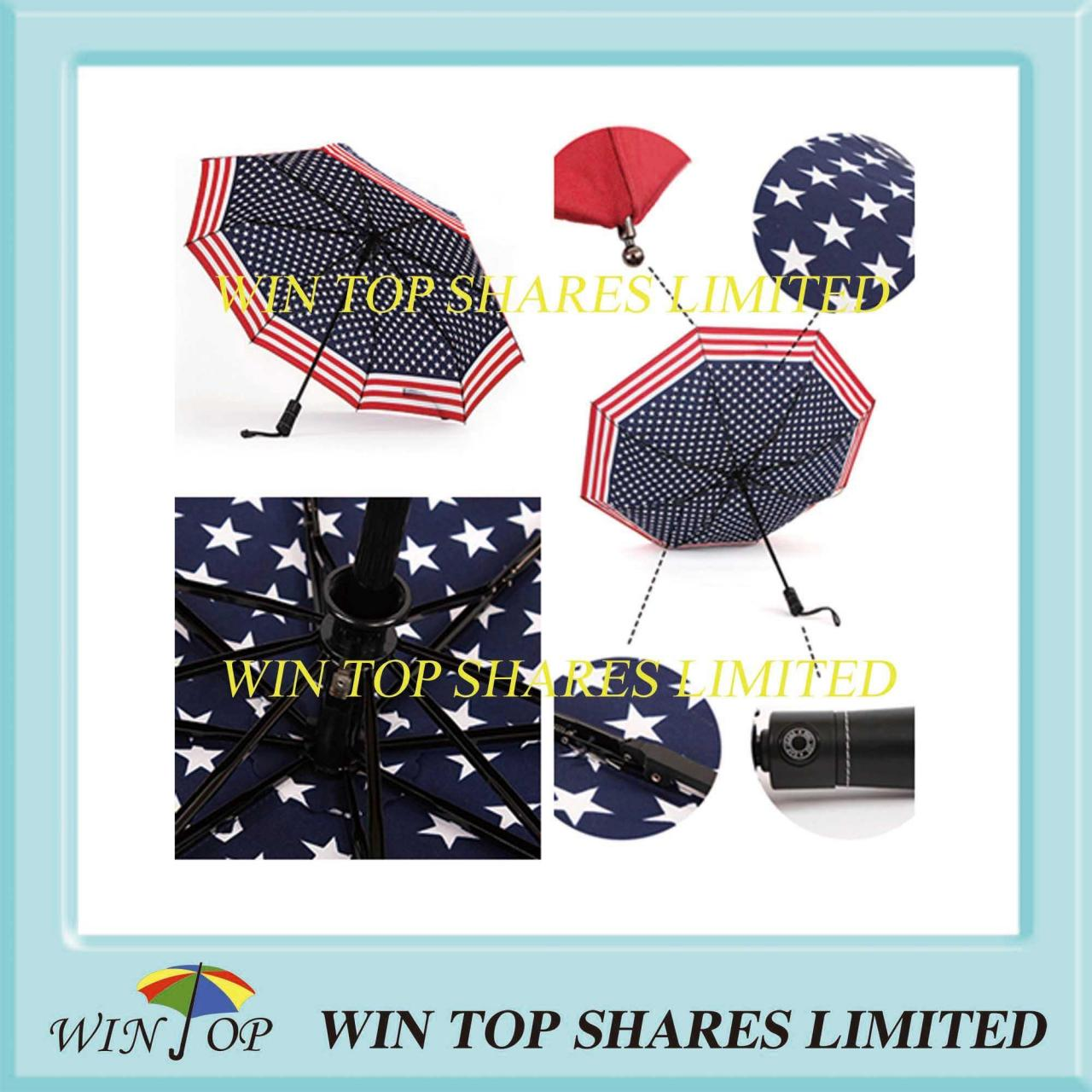 China Auto open close umbrella Full Auto 3 folds America flag umbrella wholesale