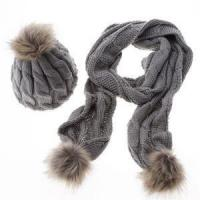 China Luxury Winter Warm Women Fashion Cashmere Knitted Scarf and Hat Set British Style Wool Crochet Cap R wholesale