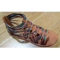 Buy cheap sandals Colorful stripes cross upper with zipper new rome sandals product
