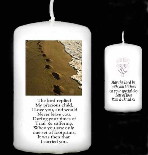 Wedding Gift Of Candles Poem : Quality page Personalised Gift Handmade Footprints Poem Candle Gift ...