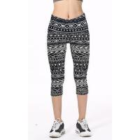 Buy cheap Black And White Tribal Geometrical Line Symbols Printed Slim Elastic Casual Capri Leggings product