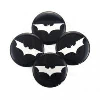 China BATMAN WHEEL CENTER CAP EMBLEMS ALUMINUM STICKERS DECAL SLIGHTLY CONED SILVER 50MM #4682 on sale
