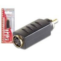 China Connectors/Adapters/Sockets AVW139Velleman S-VHS ADAPTER 4P MINI-DIN FEMALE TO MALE RCA GOLD on sale