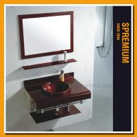 Buy cheap SP-9122 Stainless steel support vanity two piece double-bended glass sink vanity product