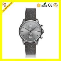Buy cheap Vogue Style Grey PVD Coating Stainless Steel Case Leather Band Chronograph Watch 6S11 Men With Date product