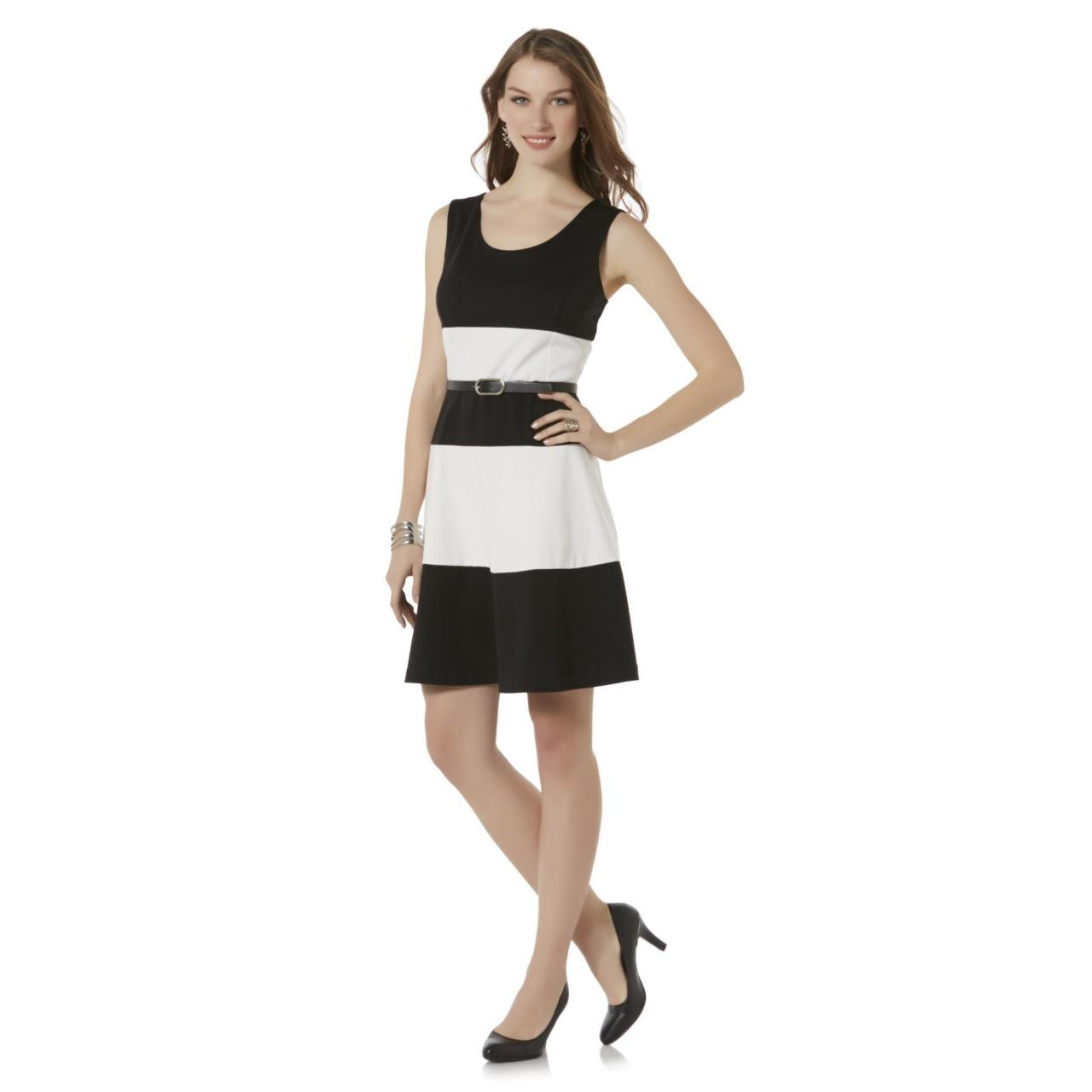 Covington Women's Sleeveless Belted Dress - Striped