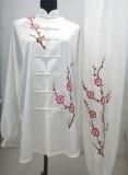 Quality Red Plum Blossom Embroidery White Tai Chi Clothing for sale