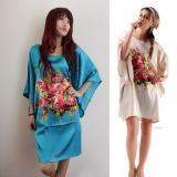 Chinese Style Solid Color Floral Pattern Silk Pajama
