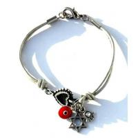 Evil Eye Amulets Leather Lucky Charms with Star of David Bracelet