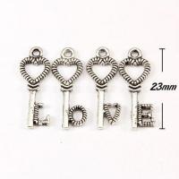 Charm, antiqued silver-finished pewter (zinc-based alloy), 8x23mm love key. 40pcs for sale