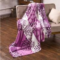 China White Striped Leaves Printing Flannel Blankets Blankets & Throws on sale