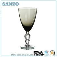 RW09032 Sanzo Glassware smoke gray colored wine glass with clear stem