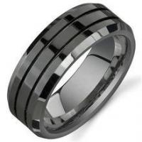 China 8mm Black Titanium Rings for Men Polished Beveled Edge Double Groove Wedding Bands on sale