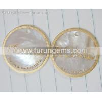 China MOP coin beads engraved words wholesale