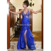China 2012 NEW Sexy Halter Mermaid Beadings Crystals Satin Applique Evening Dresses Prom Dresses EWL103 on sale