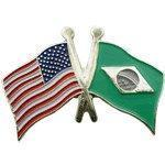 Buy cheap Cross Flag Pins Flag - USA-Brazil from wholesalers