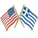 Buy cheap Cross Flag Pins Flag - USA-Greece from wholesalers