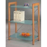 China Solid Wood Shelving Unit with Tempered Glass Shelves on sale
