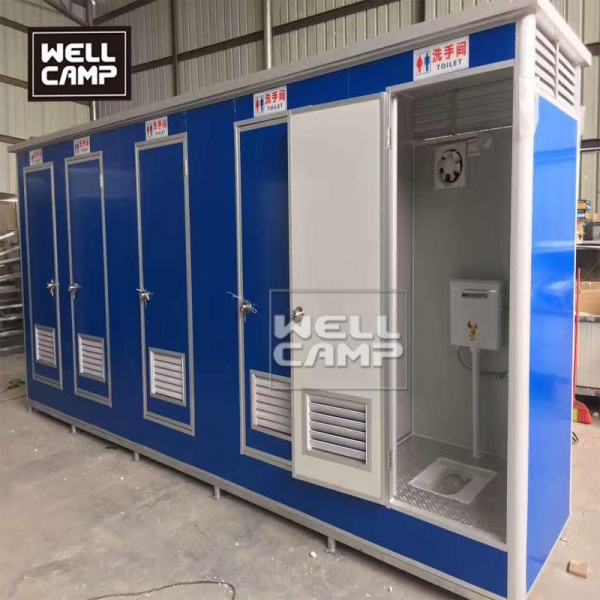 China Tiny prefab portable toilet 5 units connection recyclable box for restroom sitting toilet