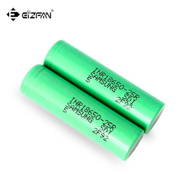 China Samsung INR 25R 18650 battery with 2500mAh 20A continuous dicharge current for vape and battery pack