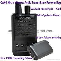Buy cheap CW04 Mini Wireless Audio Transmitter Receiver Spy Bug W/ Voice Recording in TF product