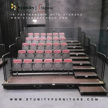 Quality Stunity Portable Retractable Seat Bleacher with Guardrail for sale