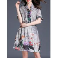 Buy cheap Dresses V Neck Elastic-Waist Print Dress product