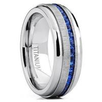 China silver inlay mens titanium wedding bands blue cz zircon stones titan ring on sale