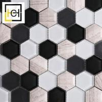 Chinese Foshan Low Price Cheap Decorative Black White Colored Design Glass Mix Tiles